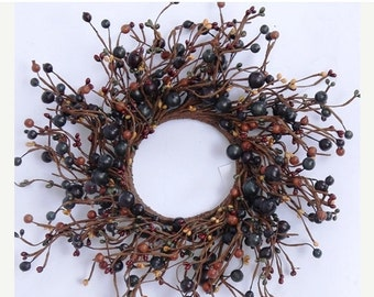 ON SALE Pip Berry Wreath-- Primitive Wreath with Mixed Berries--Grapevine Wreath-Large Candle Ring-Centerpiece-Free Shipping