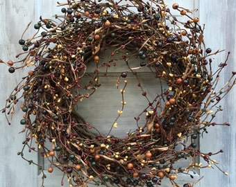 Grapevine Wreath - Pip Berry Wreath-FREE SHIPPING--Primitive Wreath--Primitive Door Decor