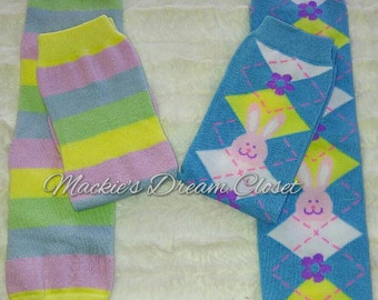 Baby toddler girl Boy leg warmers bunnies flowers stripes argyle blue pink yellow green one size cotton Halloween RTS pastels free shipping