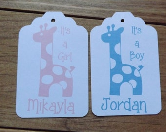 Giraffe It's a Girl It's a Boy shower favor tags custom baby tags Thank You tags Baby's Name favor tags