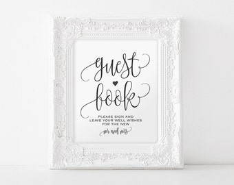 Guest Book Sign, Please Sign our Guest Book, Guest Book Printable, Wedding Sign, Template, Reception Sign, PDF Instant Download #BPB203_41