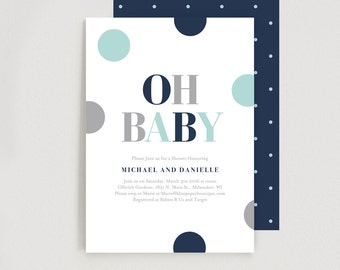 Baby Shower Invitation, Oh Baby, Boy Baby Shower Invitation - Editable Printable Template Instant Download #BPB94B