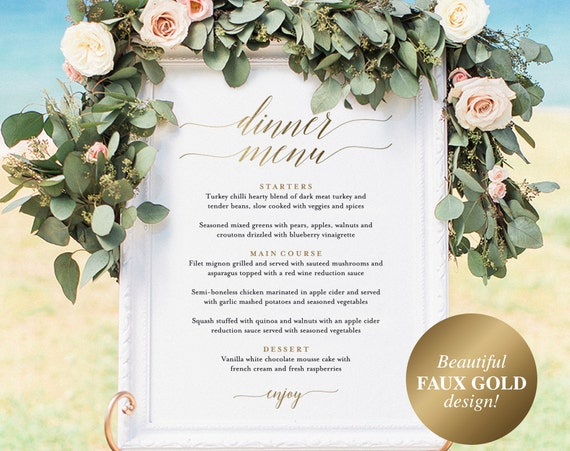 Wedding Menu Sign, Wedding Menu Board, Dinner Menu, Wedding Printable, Gold Wedding Sign, Template, PDF Instant Download #BPB324_55