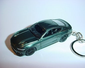 3D 2015 Ford Mustang GT custom keychain by Brian Thornton keyring key chain green finish opening hood design