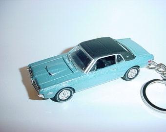 3D 1968 Mercury Cougar custom keychain by Brian Thornton keyring key chain finished in blue color trim diecast metal body hood opens