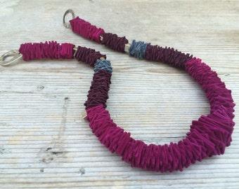 Necklace leather SMALL MAGIC SQUARES, short version, color Vivacious