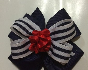 5 in navy red and white girls hairbow