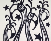 "Wall Art Linocut-Hand pressed block print-""Flamingos"""