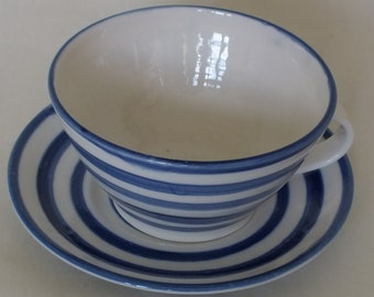Handmade Porcelain Tea Cup and Saucer with Royal Blue Stripe