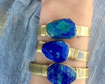 Azurite Makachite Cuff, Stone Bracelet, Azurite Brass Cuff, Adjustable