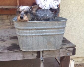 galvanized washtub with spout vintage wash tub large vintage tub galvanized bucket - Vintage Tub