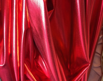 """4 way stretch metalic red pleather w red backing 60""""w Fabric by the yard"""