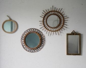 Mirror flower vintage rattan