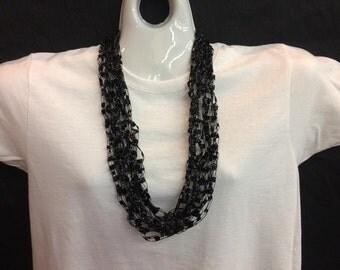 Black crocheted ribbon necklace #78