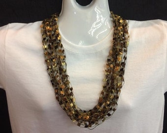 Dark brown crocheted ribbon necklace #96