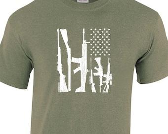 USA Patriotic Gun Flag 2nd Amendment Many Colors Tee Shirt Funny redneck Hunter Dad Gift NRA Military