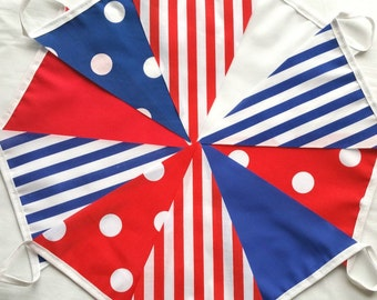 ON SALE!! 30ft / 9m Red White and Blue Mix Bunting Pennant Garland: Polka-Dots and Stripes - 30ft for the price of 20!