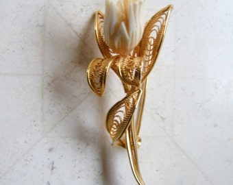 "Vintage carved IVORY tulip filigree gold pin brooch intricate 2.5"" long exc. condition"