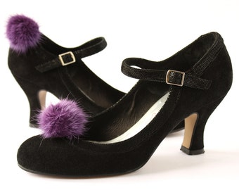 Shoe Clips Purple Mink Fur Pompon