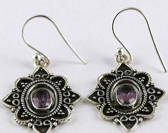25% Off Sale Amethyst Earrings - 925 Silver Earrings - Gemstone Earrings - Unique Designer Earrings - Oxidized Silver Earrings - Amethyst Da