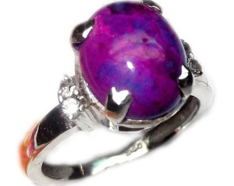 Handmade Ring - Purple Turquoise Ring - Sterling Silver Ring - Prong Set Ring - Oval Turquoise Ring - Silver Turquoise Ring - Gift For Her