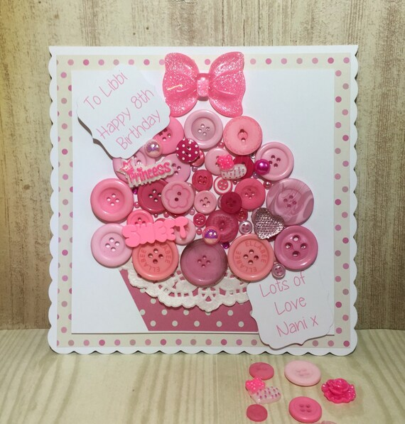 Giant Handmade Button Cupcake Birthday Card Pink