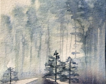 Forest painting, Watercolor trees, Misty landscape, Forest, Misty trees, Scandanavia