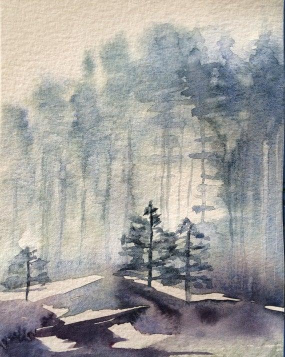 Watercolor trees, Misty landscape, Forest, Misty trees, Scandanavia