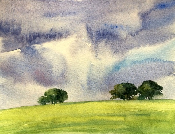 Tree painting, landscape painting, Storm clouds, fields, hills