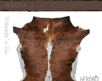 Cowhide Rug - XL brown, white and black Nguni cow hide from South Africa - unique, stylish, durable and sustainable