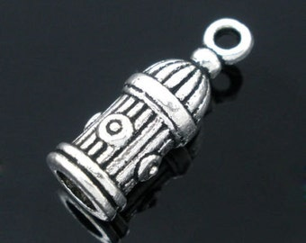30PCs Gift Silver Tone Fire Hydrant Charms Pendants 20x7mm
