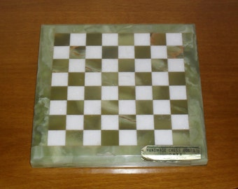 vintage Greek onyx marble Chess board  with beautiful colorful formation, Handmade Natural Solid Stone