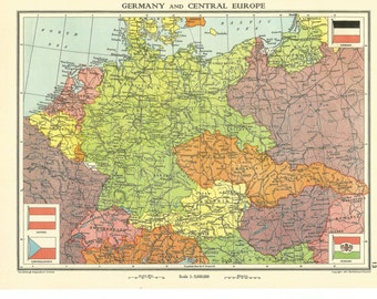 1938  map  of germany and central europe antique map collectable home decor