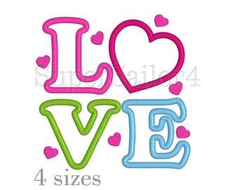 LOVE applique design, Valentine applique design, Heart applique design, Heart embroidery