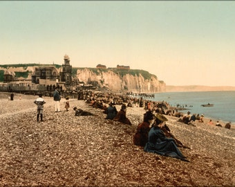 24x36 Poster . Beach And The Casino, Dieppe, France Photochrom 1890