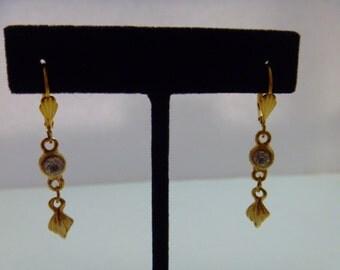 Gold Drop Earrings Lever Back Crystal Rhinestone Evening Wear Daytime Wear