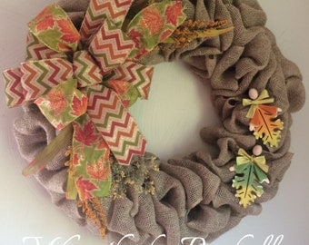 Large Fall Wreath - Fall Burlap Wreath - Autumn Wreath - Fall Leaves Wreath- Front Door Wreath for Fall