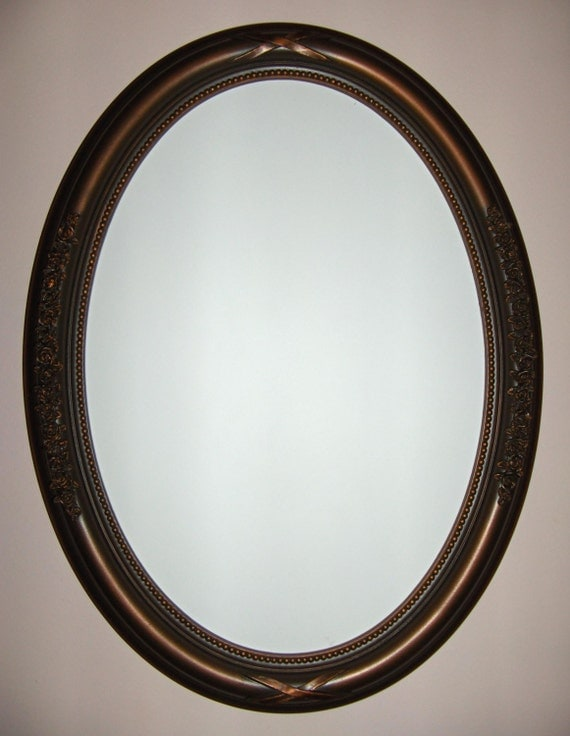Oval Mirror With Oil Rubbed Bronze Color Frame Bathroom