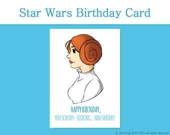 Star Wars Birthday Card, Princess Leia, Printable Greetings Card - INSTANT DOWNLOAD