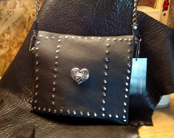 Black Leather Cross Clutch