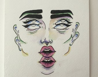 Ink and watercolor face illustration - Seeing Double