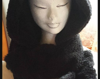 scarf with hood with ears in pile fabric