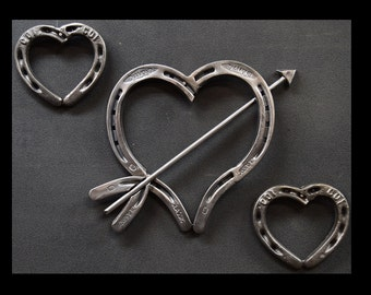 Handmade Horseshoe Art Heart Set (3)