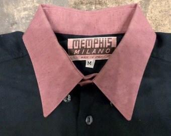 80s Memphis milano color block button up shirt