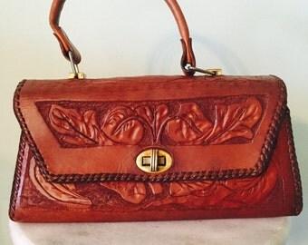 1960s/1970s/Leather/Hand Tooled/Handbag/Boho/Western Bag/Purse
