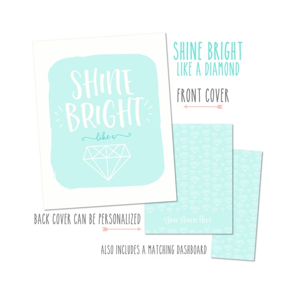 """Personalized Planner Cover """"Shine Bright"""" - Choose Cover only or Cover Set - Fits all Happy Planners, Erin Condren & Recollections Planners"""