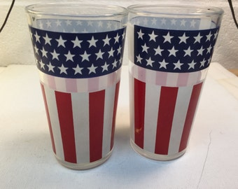 Glasses Flag Vintage Red White And Blue