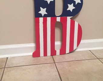 Patriotic Monogram Letter *SHIPS WITHIN 48 HOURS*