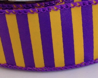 """On Sale 10 Yards of 1 1/2"""" Purple and Yellow Lines Satin Wire Edge Ribbon"""