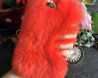 Orange Soft Fluffy Fur Furry Bling Luxury Lovely Fashion Sparkles Charms Crystals Rhinestones Diamonds Gems Hard Cover Case for Mobile Phone